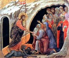 Duccio di Buoninsegna ca. 1255 – 1319 Christ in limbo La Résurrection Du Christ, Jesus Christ, Savior, Duccio Di Buoninsegna, Renaissance Kunst, Holy Saturday, Catholic Online, Catholic Lent, All Souls Day