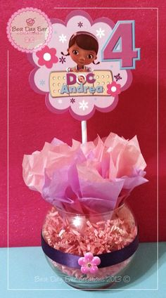 Personalized Centerpiece   Doc McStuffins Birthday Ideas