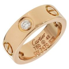 Pre-owned Cartier 18K Rose Gold Half Diamonds Love Ring Size 3.75 ($1,970) ❤ liked on Polyvore featuring jewelry, rings, diamond rings, cocktail rings, wedding band rings, 18k diamond ring and rose gold rings