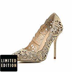 laser cut women's shoes | Gold laser cut embellished court shoes - heels - shoes / boots - women