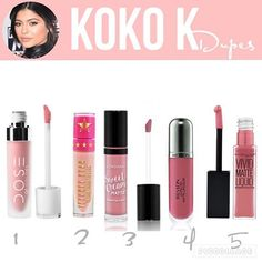 Koko k ($29) dupes: 1. Dose Of Colors Matte Liquid Lipstick in Bare With Me…
