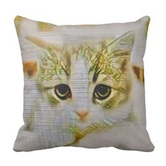 Beautiful cat art illustration 63 throw pillow
