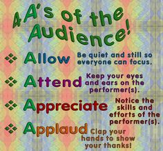 4A's of the Audience - a quick and simple way to remind the kids how to act during a concert or classroom presentation.