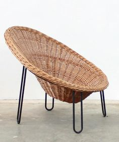 Anonymous; Wicker and Enameled Metal Lounge Chair, 1950s.