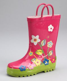 Take a look at this Fuchsia Garden Rain Boot by Laura Ashley on #zulily today!