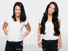 """Before and after ZALA jet black 24"""" clip in hair extensions"""