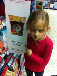 This little girl is so over gendered toys...