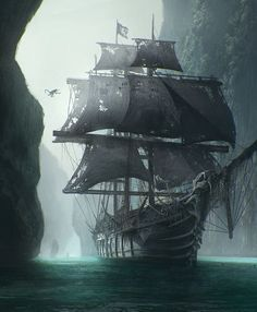 Ghost ship, don't reveal its a ghost ship till someone clambers aboard (pirate looking for treasure?) and the pov laments someone else being added to the crew of the dead. Heavy description on ship. Pirate Art, Pirate Life, Pirate Ships, Pirate Crafts, Pirate Skull, Old Sailing Ships, Ghost Ship, Ship Art, Fantasy Landscape