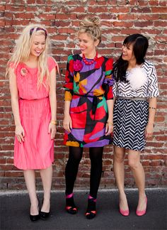 LOVE Joy's outfit (right.) The chevron dress was a vintage find at the Rose Bowl flea market and the patent pink shoes are Kate Spade.