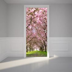 Door Wall Sticker Cherry Blossoms Place - Self Adhesive Peel & Stick Repositionable Fabric Mural Wallpaper Door, Photo Wallpaper, Wallpaper Samples, Poster Trompe L Oeil, Remove Sticker Residue, Sticker Removal, Door Murals, Mural Wall, Door Stickers