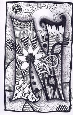Zen doodle, doodle art, creative lettering, doodle lettering, zentangle d. Doodle Alphabet, Doodle Art Letters, Doodle Art Journals, Doodle Lettering, Creative Lettering, Letter Art, Zentangle Drawings, Doodles Zentangles, Zentangle Patterns