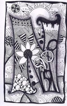 Zentangle, Letter N, Zebra Letters, name, bunting. £3.50, via Etsy.