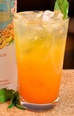 Peach crush cocktail.Delicious cocktail with fresh peaches,whiskey and peach schnapps.
