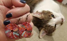 Micromacrame earrings medium pinwheel tie dye multicolor red, pink, orange, peach, aqua, and grey