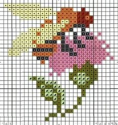 Bumblebee and flower cross stitch chart