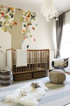 Proof this nursery is unused: that rug/skin on the floor would trip any new parent the very first night! No way. Just put it directly in the crib. Yeah. That's safe, too.