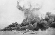 The MV Neptuna explodes during the bombing of Darwin, Australia on 19 February 1942. Over 200 Japanese aircraft attacked the town's two airfields and ships in Darwin's harbour, inflicting heavy losses upon the Allied forces at little cost to themselves.