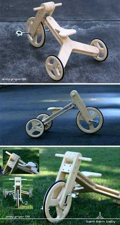 Tri It, You'll Like It: 16 Amazing Tricycle Concepts – Page 3 of 3 – WebEcoist – Woodworks Wooden Bicycle, Wood Bike, Making Wooden Toys, Handmade Wooden Toys, Wood Kids Toys, Wood Toys, Wood Projects That Sell, Woodworking Projects That Sell, Diy Furniture To Sell