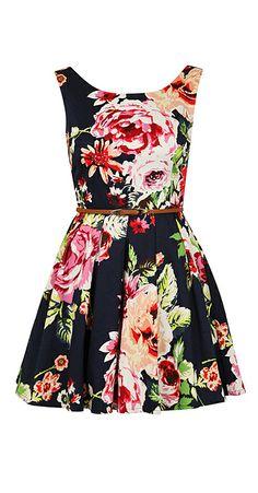 Flirty floral garden party dress! :: bright spring fashion:: flower dress:: spring vintage:: retro spring style