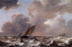 Jan Porcellis - Schepen bij harde wind