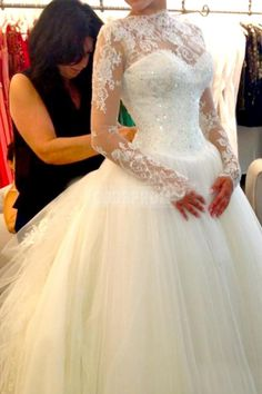 Bateau Long Sleeves Lace Ball Gown Zipper Winter Wedding Dress