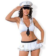 OBSESSIVE SAILOR DISFRAZ SEXY MARINERA.  Disfraz inspirado en una mujer Marinera formado por falda chort en color blanco con simbolo marinera, top + gorra a juego fabricado y diseñado por la prestigiosa marca Obsessive. #disfraces #euforiaonline
