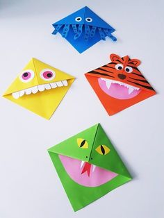 Make bookmarks: Monster bookmarks fold with children - Simple instructions and ideas for folding corner bookmarks for kids. Origami Diy, Origami Mouse, Origami Star Box, Origami Butterfly, Origami Folding, Useful Origami, Origami Design, Origami Stars, Origami Ideas