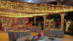 Decoracion de boda en blanco, negro y rosa