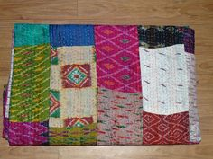 Indian Vintage Quilt Old Patola Indian Silk Sari Kantha Quilted Patchwork Throw #Handmade #Asian