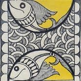 Shop Monochromatic Madhubani Painting Featuring Fishes by Kalakruti online. Largest collection of Latest Wall Art and Paintings online. Madhubani Paintings Peacock, Kalamkari Painting, Madhubani Art, Mural Painting, Mural Art, Gond Painting, Wall Art, Doodle Art Drawing, Drawing Pics