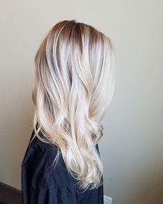 Rooty shadow root balayage natural hair cool blonde long blonde hair root melt