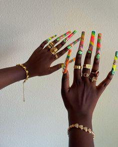 Heart Bracelet, Cuff Bracelets, Acylic Nails, Funky Nails, Fire Nails, Long Acrylic Nails, Vintage Heart, Brown Girl, Fabulous Nails
