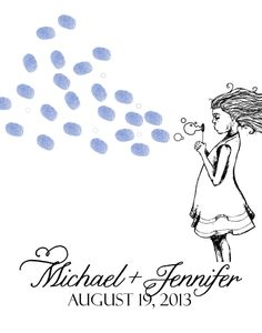 Just Married Bubbles Thumbprint Guest Book
