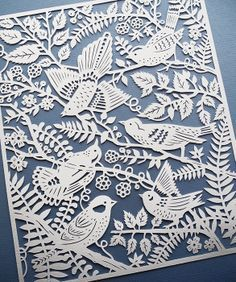 Wild Birds handcut paper illustration by Sarah Trumbauer. Giclee prints available on Etsy not origami but still paper Kirigami, Paper Cutting, Papercut Art, Neli Quilling, Quilled Roses, Quilling Comb, Paper Illustration, Bird Prints, Bird Art