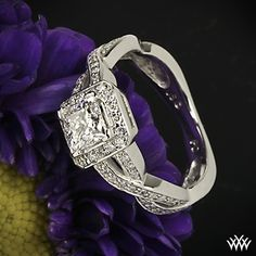 "Featured here is a beautiful 0.712 ct E VS2 Super Ideal Princess Cut Diamond Whiteflash A CUT ABOVE® set in our gorgeous ""Diamond Braid"" Diamond Engagement Ring. two rows laced with 74 Round Brilliant Diamond Melee (0.37ctw; G/H SI1) intertwine to make one stunning ring"