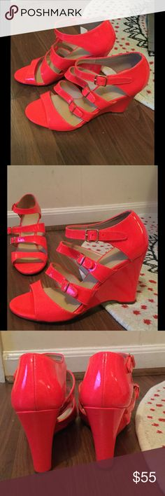 J.Crew hot pink/orange strappy wedges J.Crew hot pink/orange strappy wedges. Size 8. Worn once for a wedding. The sky is the limit with these babies! #PlywoodAndPearls J. Crew Shoes Wedges