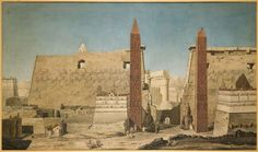 François-Charles Cécile, The Pylons at the entrance to the Temple of Luxor (1800).