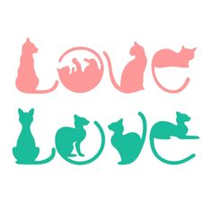 Love Cat SVG Cuttable Design and like OMG! get some yourself some pawtastic adorable cat apparel! Cricut Vinyl, Vinyl Decals, Cat Decals, Silhouette Projects, Silhouette Design, Love Letras, Arte Disney, Cat Crafts, Cricut Creations