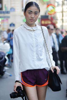 white shirt & shorts. Paris.