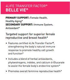 4Life Transfer Factor Belle Vie For Female Health WHY SHOULD YOU TAKE THIS PRODUCT?  One of the most common discussions and baffling aspects of women, according to most men, is their hormonal balance! #Cottonball<3