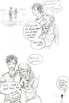 Percabeth:). And her shirt is see-through...oh Percy.