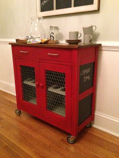 Red kitchen cart redo with chalkboard paint and chicken wire.