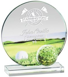 Our Golf Course Glass Award features a round glass piece with a full color golf course imprinted on it & an engraving area above the imprint. It comes in 3 sizes to choose from: is x is x & is x size. Glass Awards, Sports Trophies, Sports Awards, Round Glass, Golf Courses, Things To Come, Color, Colour, Paint