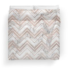 Stunning rose gold and marble zig zag duvet cover from Peggie Prints on Redbubble