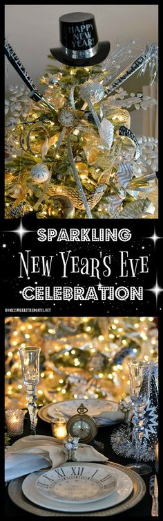 Transform the Christmas tree into a New Year's Countdown Tree, with the addition of gold and silver ribbon, streamers, party horns and tiaras for New Year's Eve sparkling celebration! | homeiswheretheboatis.net