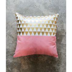 Peach Gold Triangles Pillow