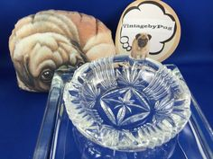 "Vintage 3.75"" Round Crystal Ashtray * NO RESERVE*"