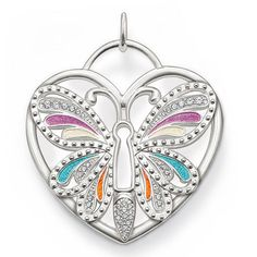 Large Silver Butterfly Pendant,white zirconia, blue,purple,orange and white enamelled,silver heart pendant charm fashion jewelry US $12.60 - 14.60