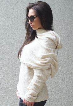 Hey, I found this really awesome Etsy listing at https://www.etsy.com/listing/488254241/loose-knit-sweater-high-collar