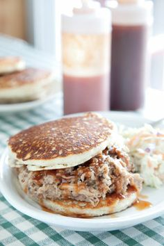 "Ok, so here is another BBQ version that I have never tried--""Hoecake Sandwich""  Oh my heck!  It is cornmeal griddle cooked pancakes with shredded-Boston-butt BBQ!   So, am I a Ho if I eat a Hoecake BBQ sandwich?  Maybe one day I will find out."